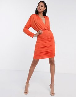 long sleeve plunge front ruched mini dress in orange-Brown