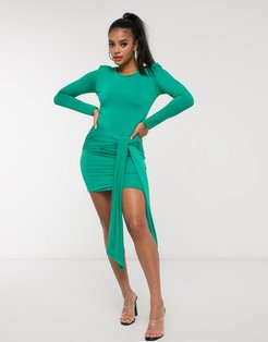 long sleeve ruched tie front mini dress in green-Blue