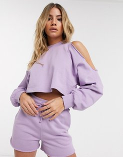 4505 cold shoulder long sleeve sweat top-Purple
