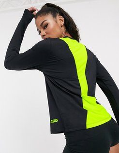 4505 long sleeve tee with contrast mesh back-Black