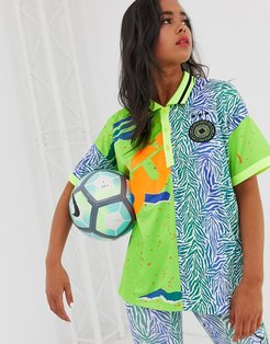 4505 soccer t-shirt with collar in spliced pattern-Multi