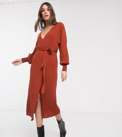 ASOS DEISGN Tall knitted wrap dress with volume sleeve-Red
