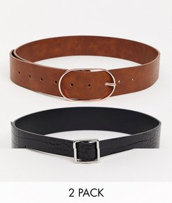 2 pack croc and tan waist and hip belt-Multi