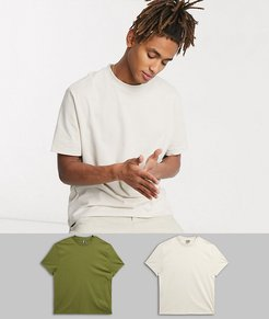 2 pack organic relaxed t-shirt with crew neck-Multi