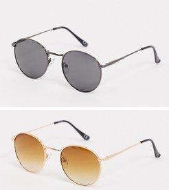 2 pack round sunglasses in black and gold SAVE-Multi