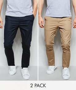 2 pack super skinny chinos in navy & stone save-Multi