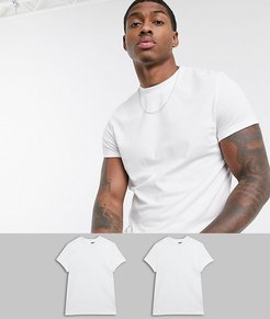 2 pack t-shirt with crew neck and roll sleeve save-White