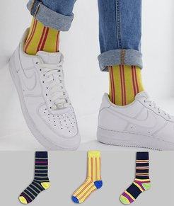 3 pack ankle socks with blue and yellow stripe design save-Multi