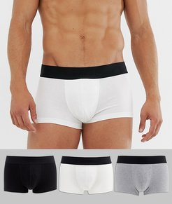 3 pack short trunks in monochrome in organic cotton save-Multi