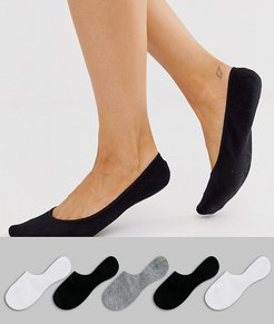 5 pack invisible socks with back grip band detail in black white and gray-Multi