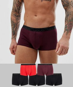 5 pack short trunks in black red & burgundy with branded waistband save-Multi