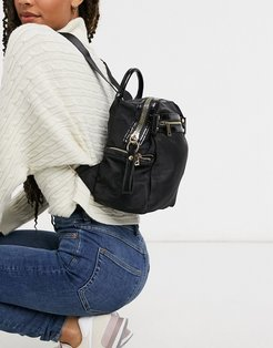backpack with chunky zip and croc detail-Black