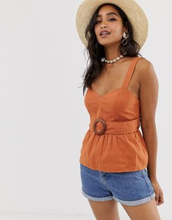 belted sun top with peplum-Black