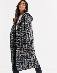 boucle textured parka in black