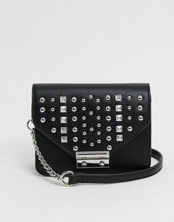 boxy cross body bag with studs in black