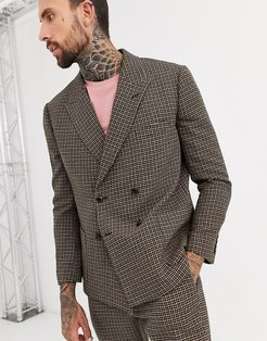 boxy double breasted suit jacket in green and pink houndstooth