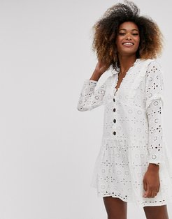 broderie button through tiered smock mini dress in white