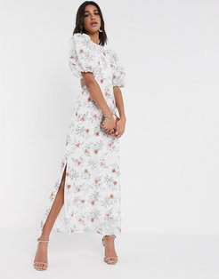 broderie maxi dress with cut out back in floral print-Multi