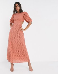 broderie maxi dress with cut out back in rust-Red