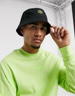 bucket hat in black cotton with green embroidery