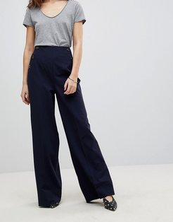 Button Pocket Wide Leg PANTS-Navy