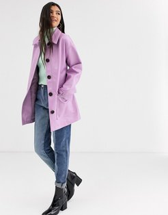 button through leather look belted jacket in lilac-Purple