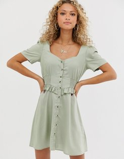 button through mini dress with shirred waist-Green