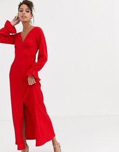 button through textured maxi dress in red