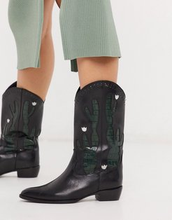 Cactus leather western boot in black