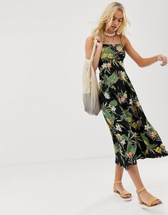 cami maxi dress in tropical print-Multi