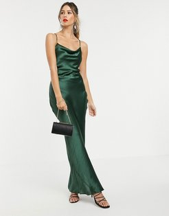 cami maxi slip dress in high shine in satin with lace up back-Green