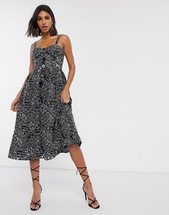 cami midi prom dress in palm broderie with contrast stitching in black