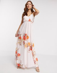cami plunge maxi dress with blouson top in floral print-Multi