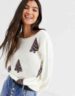charity christmas tree sweater for ASOS foundation-Cream