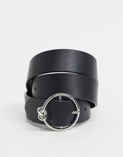 circle knot buckle waist and hip jeans belt in silver-Black