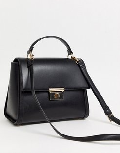 clean structured tote bag with plate detail-Black