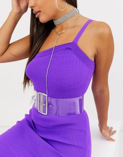 clear plastic wide waist and hip belt
