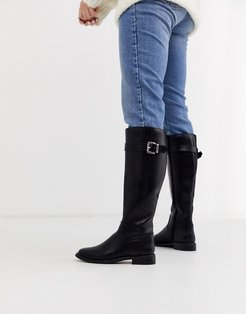 Constance flat riding boots in black