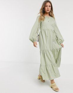 cotton poplin tiered maxi dress with long sleeves in khaki-Green
