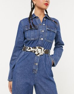 cow print waist and hip belt with matching buckle in brown-Multi