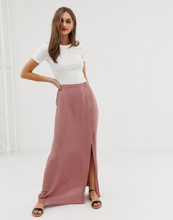 crinkle maxi skirt with self covered buttons-Pink
