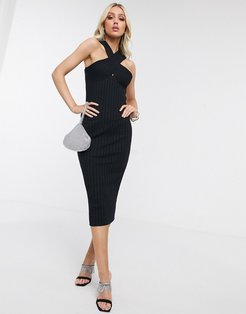 cross neck rib midi dress in black