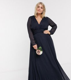 ASOS DESIGN Curve Bridesmaid ruched waist maxi dress with long sleeves and pleat skirt-Navy