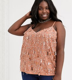 ASOS DESIGN Curve cami with fringe embellishment-No Color