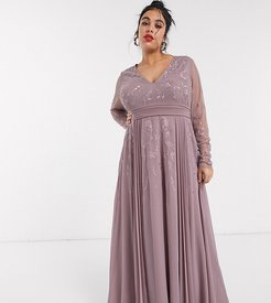 ASOS DESIGN Curve embroidered pleated mesh detail maxi dress-Purple