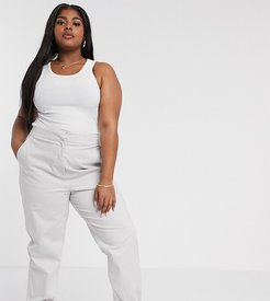 Curve high waist chino with jogger hem in gray