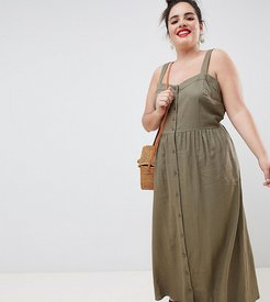 ASOS DESIGN Curve linen button through maxi dress-Green