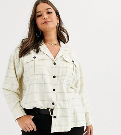 ASOS DESIGN Curve long sleeve check shirt with double pocket detail and contrast button-Multi