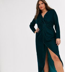 ASOS DESIGN Curve long sleeve maxi dress with knot front bodice in velvet-Green