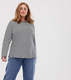 ASOS DESIGN Curve long sleeve t-shirt in stripe-Multi